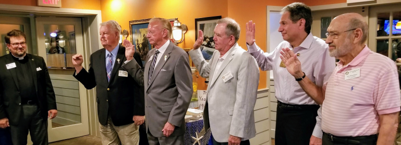 New South County Rotary President Jeff Hual swears in the 2019-20 Board of Directors and Officers. From left are Haul, Lawrence Leahy, John May, Blair Smith, Cort Vitty. Board members not pictured are David Newman, Lee Derrick, Jeff Holland,