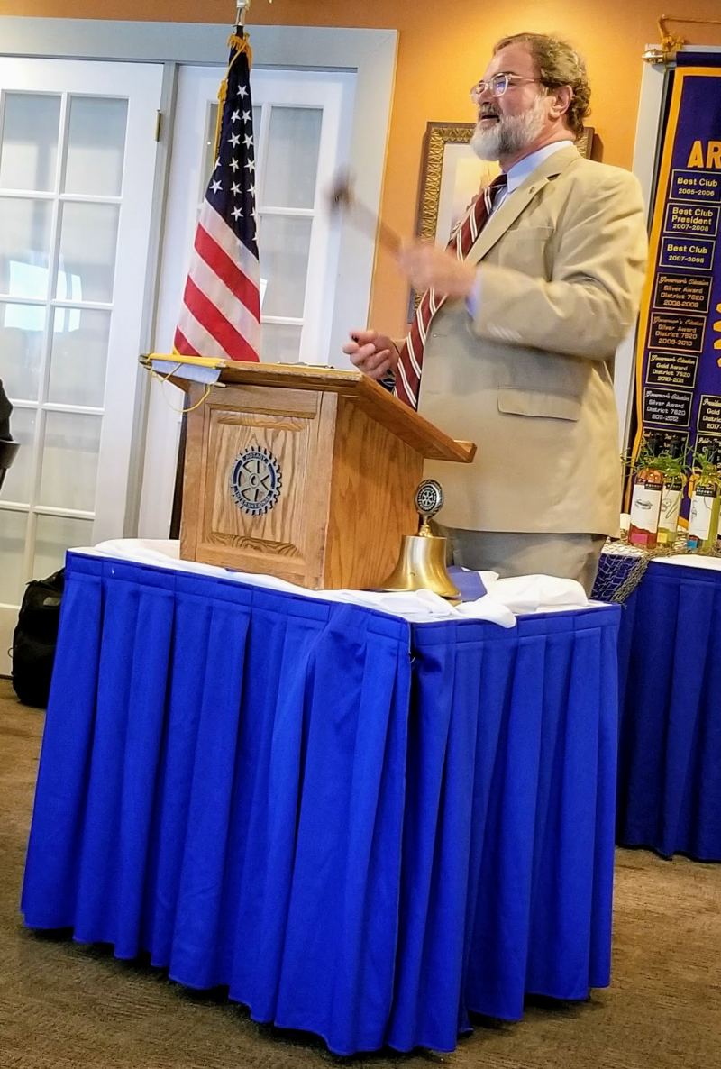 Jeff Holland gives his final remarks as presdient of the Rotary Club of South Anne Arundel County at the Charter Night dinner, Pirates Cove, Galesville..